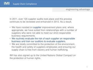 IMI    Supply Chain Compliance