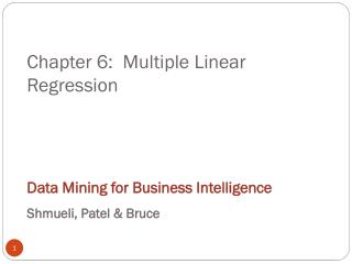 Chapter 6:  Multiple Linear Regression