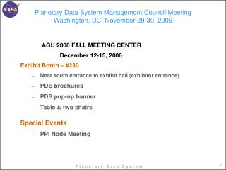 Planetary Data System Management Council Meeting Washington, DC, November 29-30, 2006