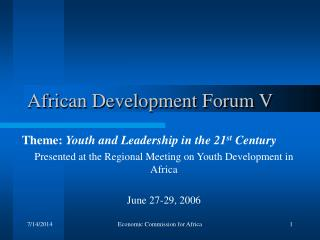 African Development Forum V