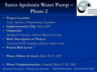 Santa Apolonia Water Pump � Phase 2