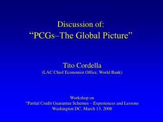 "Discussion of: "" PCGs–The Global Picture"""