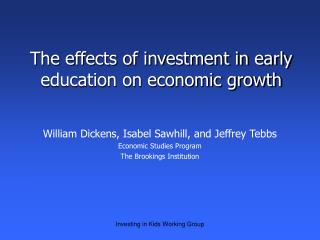 The effects of investment in early education on economic growth