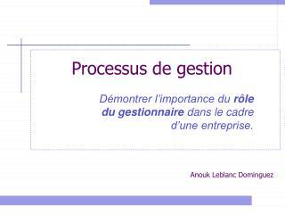 Processus de gestion