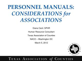PERSONNEL MANUALS:  CONSIDERATIONS for ASSOCIATIONS