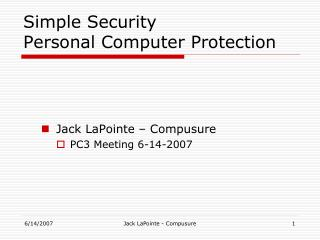 Simple Security  Personal Computer Protection