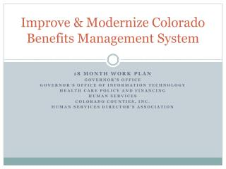 Improve & Modernize Colorado Benefits Management System