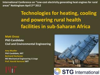 Technologies for heating, cooling and powering rural health facilities in sub-Saharan Africa