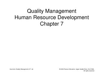 Quality Management Human Resource Development Chapter 7