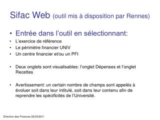 Sifac Web  (outil mis à disposition par Rennes)