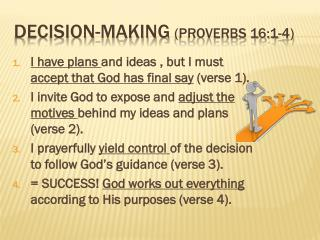 Decision-making (Proverbs 16:1-4)