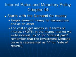 Interest Rates and Monetary Policy Chapter 14