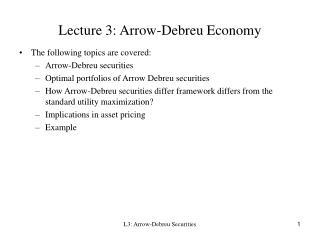 Lecture 3: Arrow-Debreu Economy