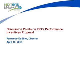 Discussion Points on ISO's Performance Incentives Proposal