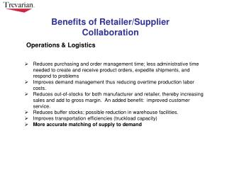Benefits of Retailer/Supplier Collaboration