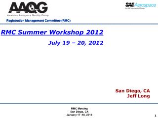 RMC Summer Workshop 2012 July 19 – 20, 2012