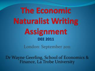 The Economic Naturalist Writing Assignment DEE 2011