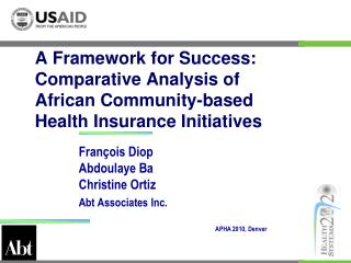 A Framework for Success: Comparative Analysis of  African Community-based  Health Insurance Initiatives