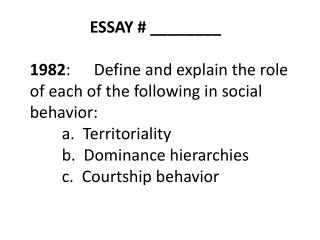 ESSAY 13 BEHAVIOR