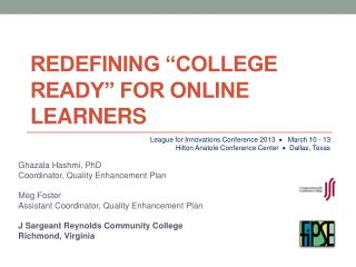 "Redefining ""College Ready"" for Online Learners"
