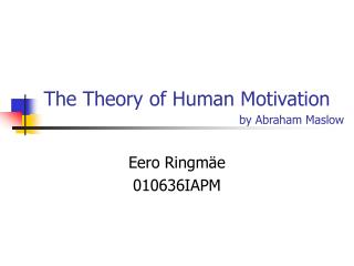 The Theory of Human Motivation