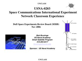 Bob Bruninga US Naval Academy Small Satellite Program 410-293-6417 bruninga@usna.edu Sponsor:  US Naval Academy