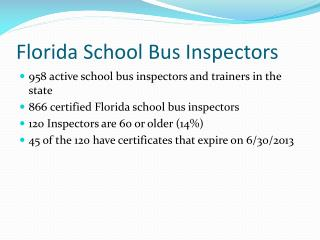 Florida School Bus Inspectors
