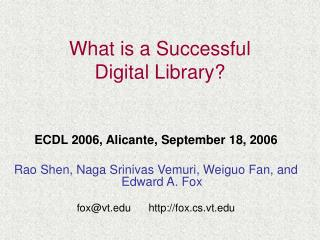 What is a Successful  Digital Library?