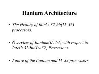Itanium Architecture