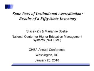 State Uses of Institutional Accreditation: Results of a Fifty-State Inventory