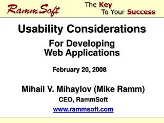 Usability Considerations For Developing Web Applications