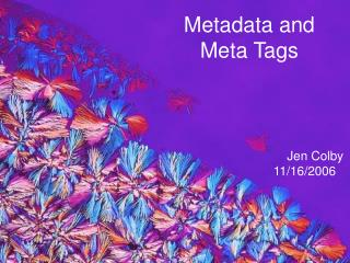 Metadata and Meta Tags