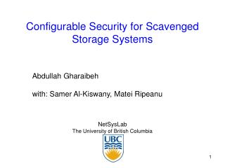 Configurable Security for Scavenged Storage Systems