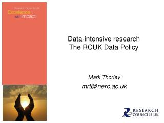 Data-intensive research The RCUK  Data Policy