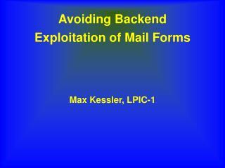 Avoiding Backend Exploitation of Mail Forms