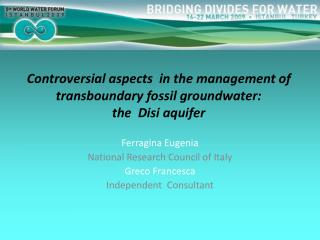 Controversial aspects  in the management of transboundary fossil groundwater:  the  Disi aquifer