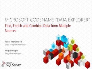 "MICROSOFT CODENAME ""Data explorer"""