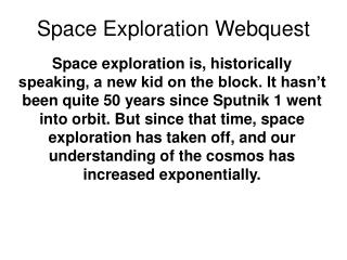 Space Exploration Webquest