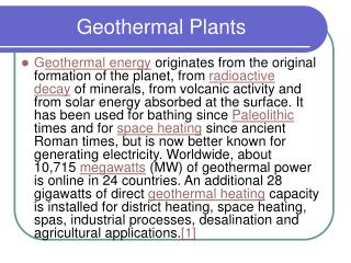 Geothermal Plants
