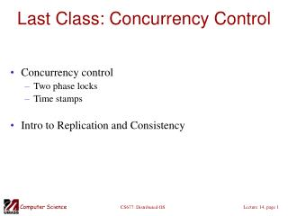 Last Class: Concurrency Control