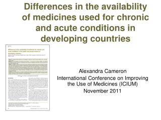 Differences in the availability of medicines used for chronic and acute conditions in developing countries