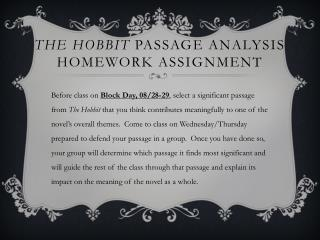 The Hobbit  Passage Analysis HOMEWORK Assignment