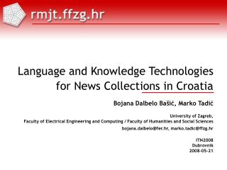 Language and Knowledge Technologies for News Collections in Croatia