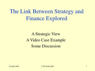The Link Between Strategy and Finance Explored