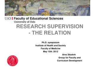 RESEARCH SUPERVISION - THE RELATION