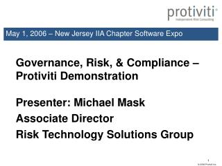May 1, 2006 – New Jersey IIA Chapter Software Expo