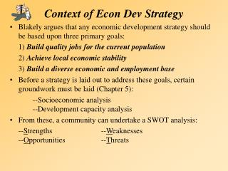 Context of Econ Dev Strategy