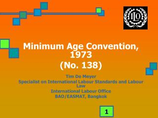 Minimum Age Convention, 1973 (No. 138) Tim De Meyer Specialist on International Labour Standards and Labour Law Interna