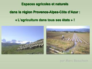 Espaces agricoles et naturels  dans la région Provence-Alpes-Côte d'Azur: «L'agriculture dans tous ses états»!