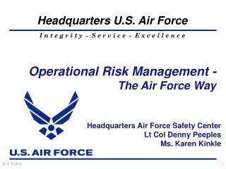 Operational Risk Management -   The Air Force Way